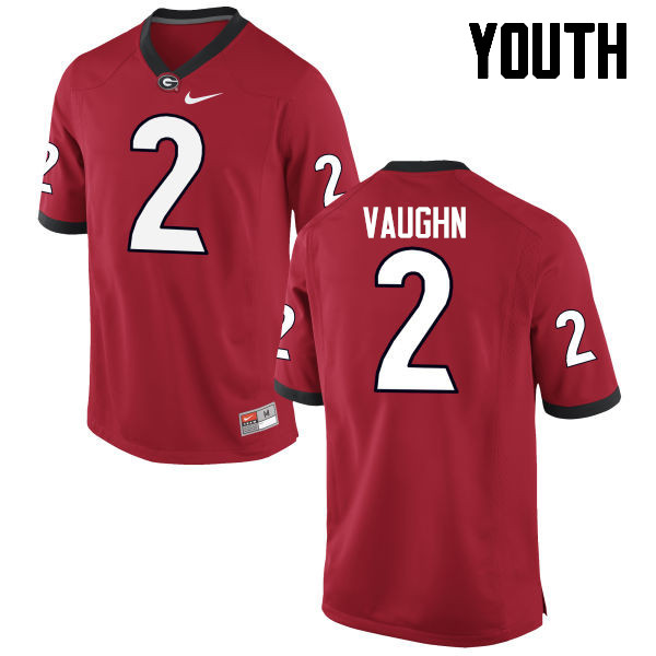 Youth Georgia Bulldogs #2 Sam Vaughn College Football Jerseys-Red