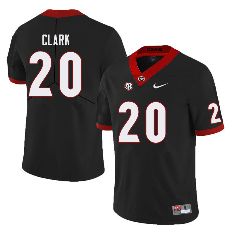 Men #20 Sevaughn Clark Georgia Bulldogs College Football Jerseys Sale-Black