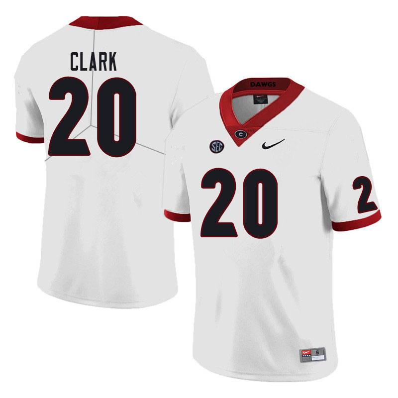 Men #20 Sevaughn Clark Georgia Bulldogs College Football Jerseys Sale-White