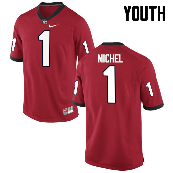 Youth Georgia Bulldogs #1 Sony Michel College Football Jerseys-Red