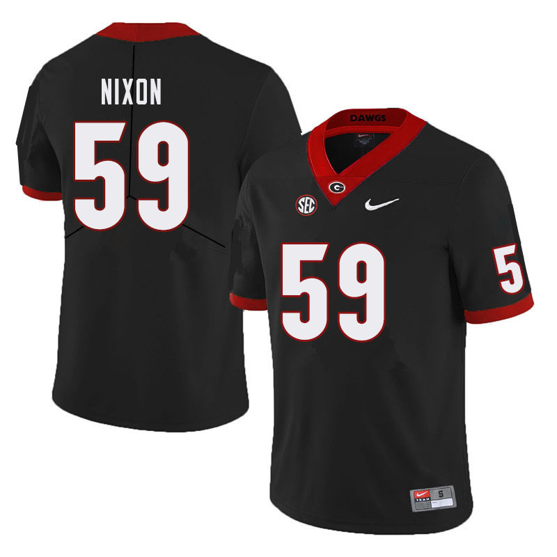 Men #59 Steven Nixon Georgia Bulldogs College Football Jerseys Sale-Black