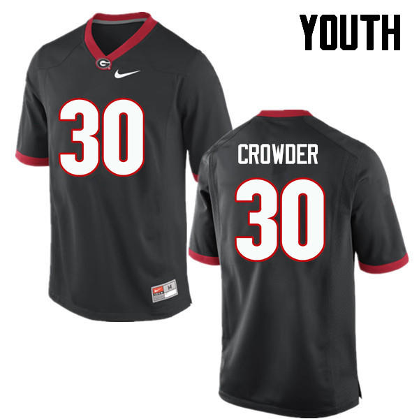 Youth Georgia Bulldogs #30 Tae Crowder College Football Jerseys-Black