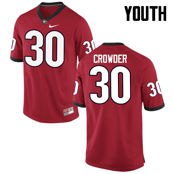 Youth Georgia Bulldogs #30 Tae Crowder College Football Jerseys-Red