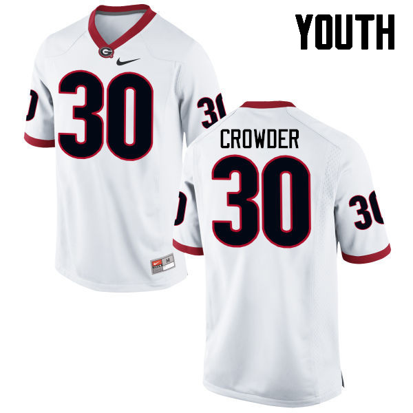 Youth Georgia Bulldogs #30 Tae Crowder College Football Jerseys-White