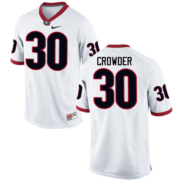 Men Georgia Bulldogs #30 Tae Crowder College Football Jerseys-White