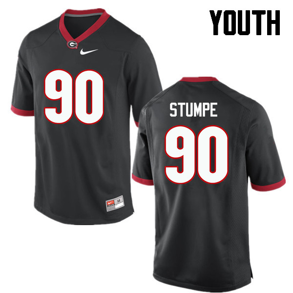 Youth Georgia Bulldogs #90 Tanner Stumpe College Football Jerseys-Black