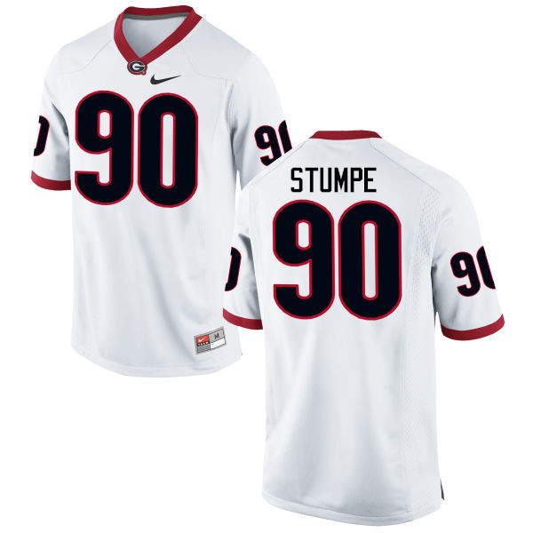 Men Georgia Bulldogs #90 Tanner Stumpe College Football Jerseys-White