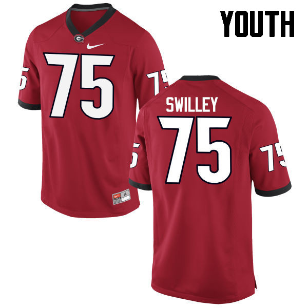 Youth Georgia Bulldogs #75 Thomas Swilley College Football Jerseys-Red