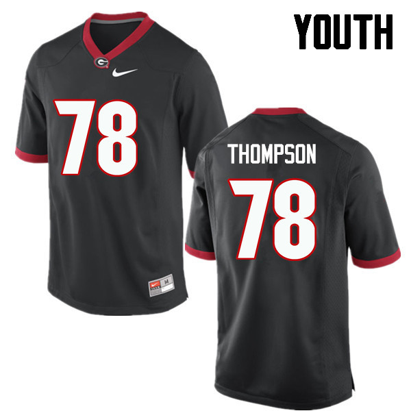 Youth Georgia Bulldogs #78 Trenton Thompson College Football Jerseys-Black