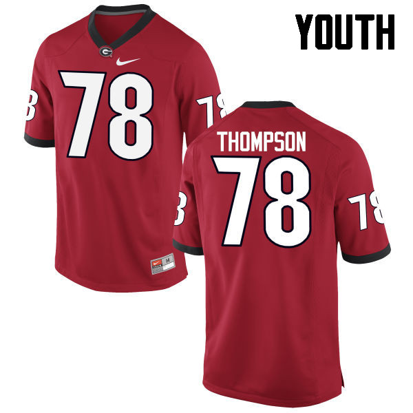 Youth Georgia Bulldogs #78 Trenton Thompson College Football Jerseys-Red