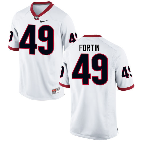 Men Georgia Bulldogs #49 Turner Fortin College Football Jerseys-White