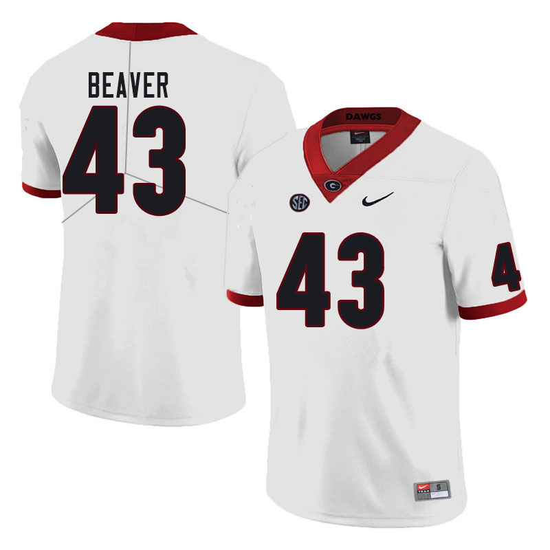 Men #43 Tyler Beaver Georgia Bulldogs College Football Jerseys Sale-White