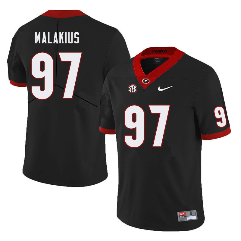 Men #97 Tyler Malakius Georgia Bulldogs College Football Jerseys Sale-Black