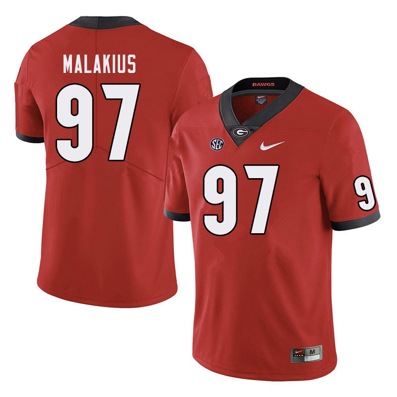 Men #97 Tyler Malakius Georgia Bulldogs College Football Jerseys Sale-Red