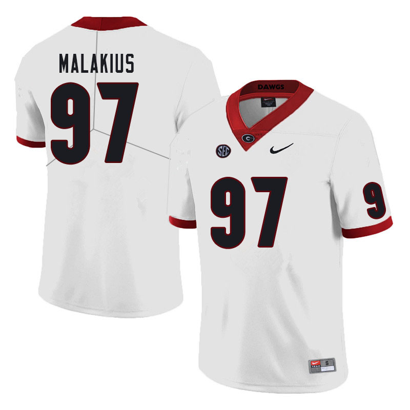 Men #97 Tyler Malakius Georgia Bulldogs College Football Jerseys Sale-White