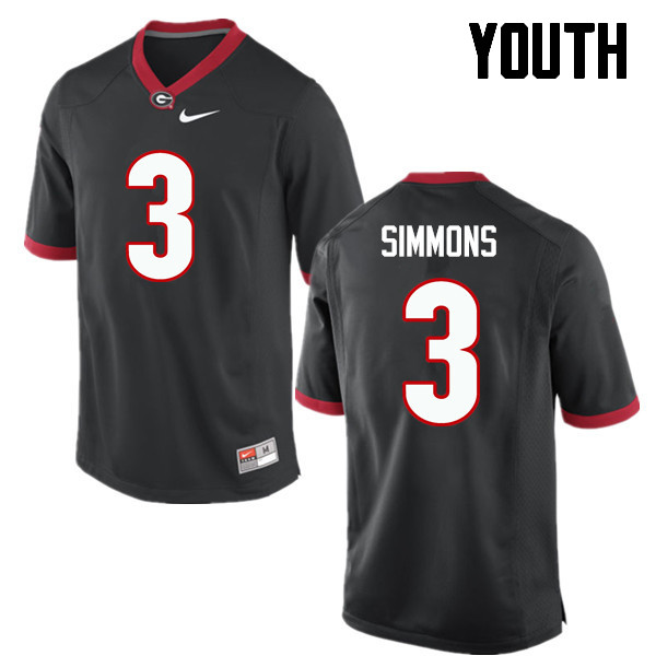 Youth Georgia Bulldogs #3 Tyler Simmons College Football Jerseys-Black