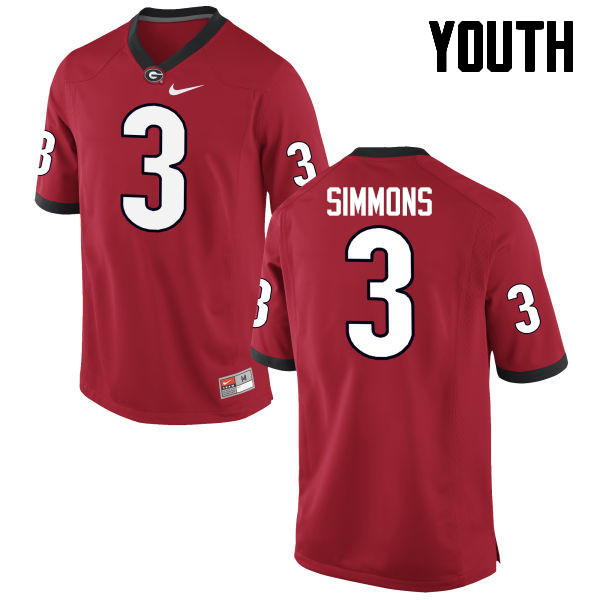 Youth Georgia Bulldogs #3 Tyler Simmons College Football Jerseys-Red