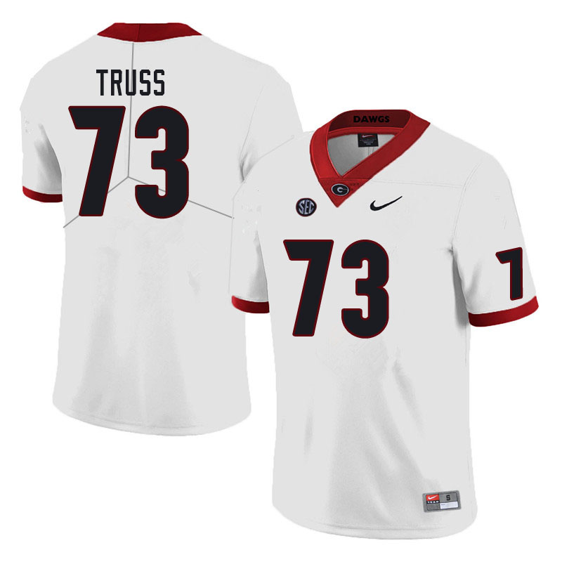 Men #73 Xavier Truss Georgia Bulldogs College Football Jerseys Sale-White