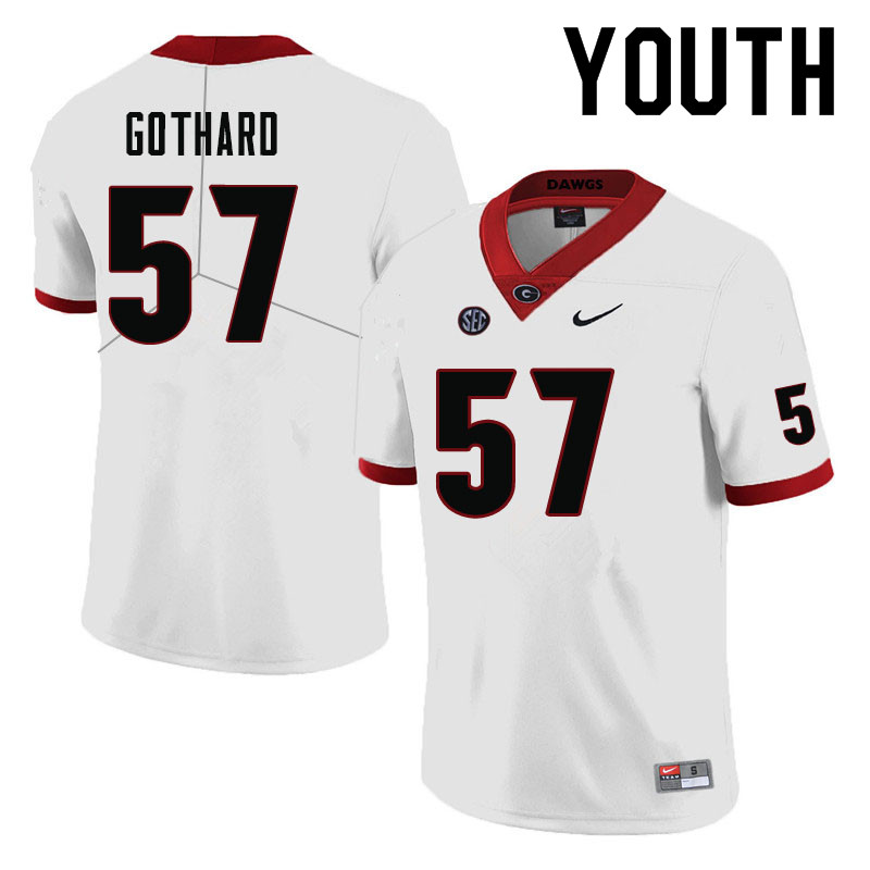 Youth #57 Daniel Gothard Georgia Bulldogs College Football Jerseys-White