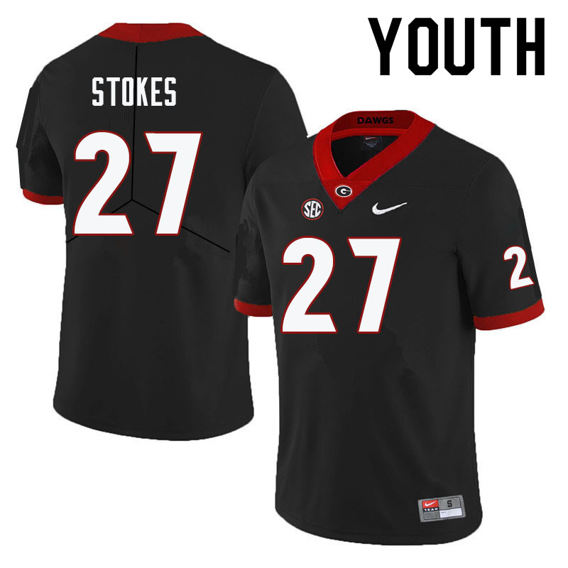 Youth #27 Eric Stokes Georgia Bulldogs College Football Jerseys-Black