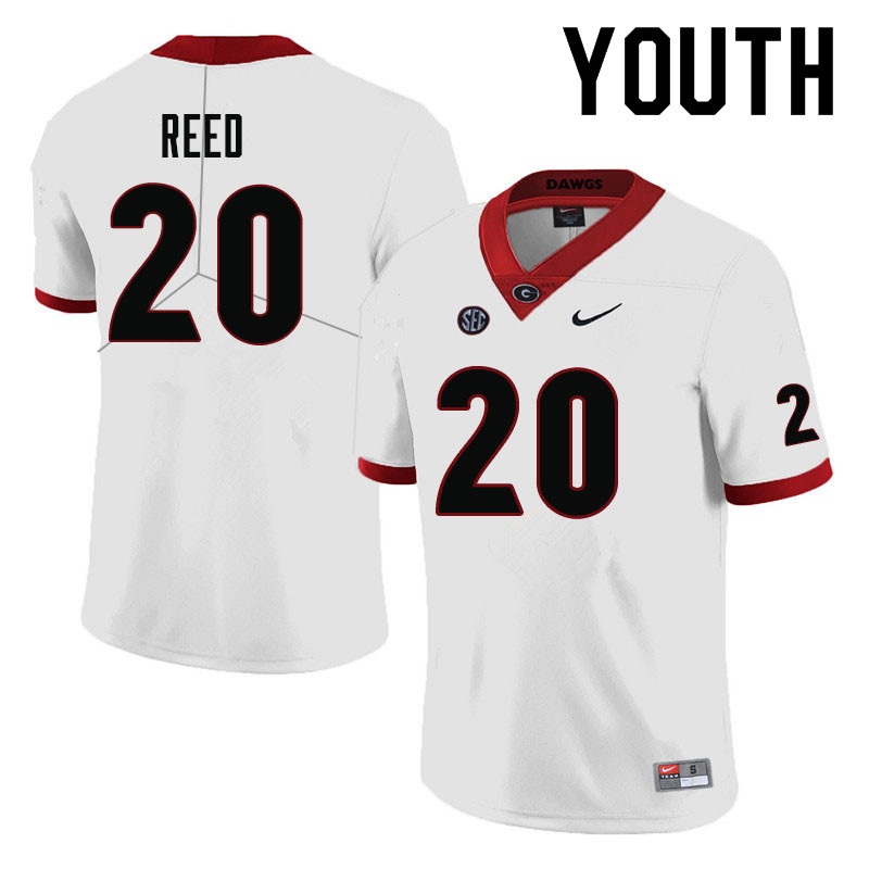 Youth #20 J.R. Reed Georgia Bulldogs College Football Jerseys-White