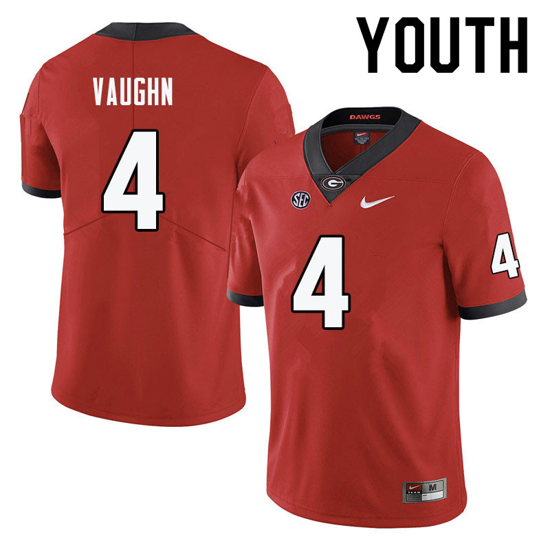 Youth #4 Sam Vaughn Georgia Bulldogs College Football Jerseys-Red
