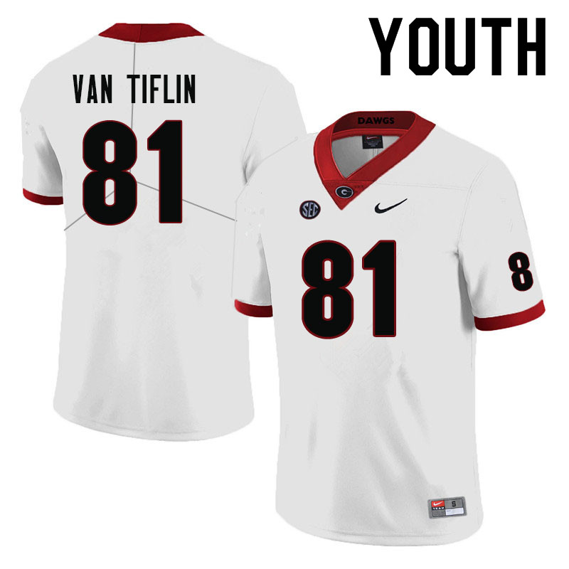 Youth #81 Steven Van Tiflin Georgia Bulldogs College Football Jerseys-White