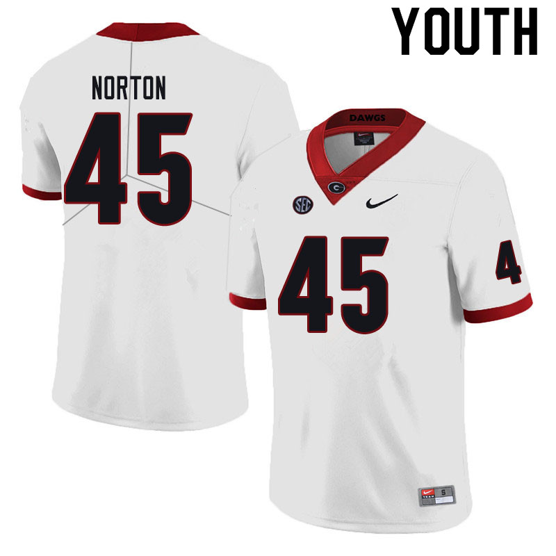 Youth #45 Bill Norton Georgia Bulldogs College Football Jerseys Sale-Black