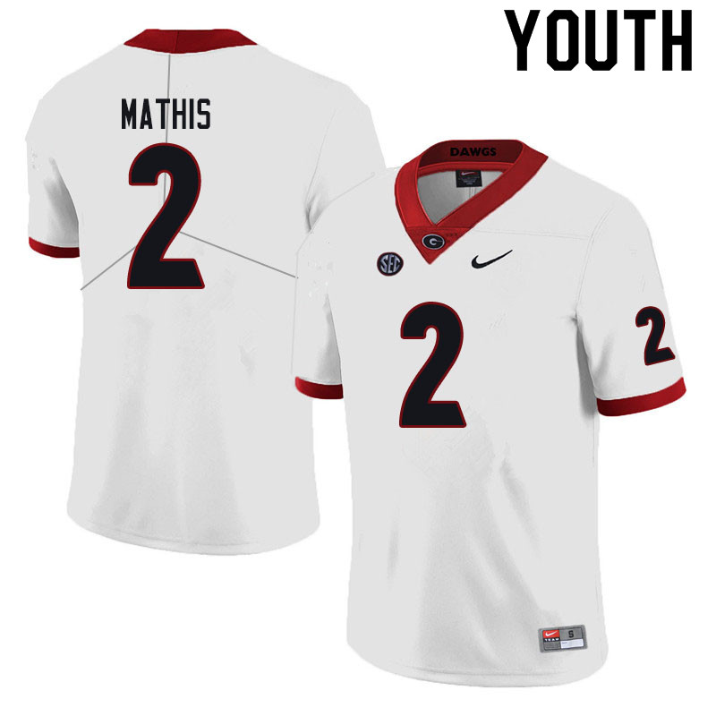 Youth #2 D'Wan Mathis Georgia Bulldogs College Football Jerseys Sale-Black