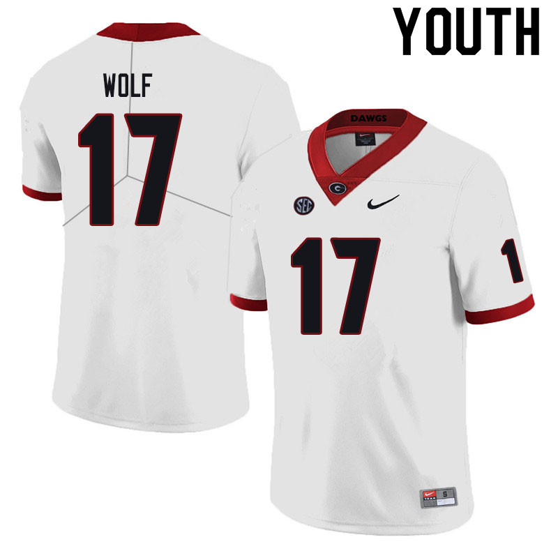 Youth #17 Eli Wolf Georgia Bulldogs College Football Jerseys Sale-Black