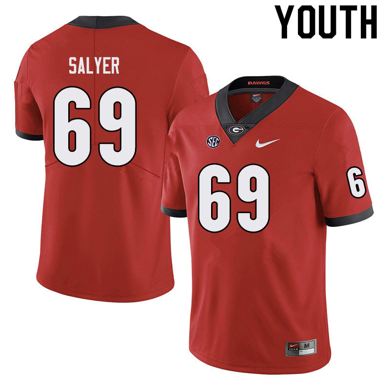 Youth #69 Jamaree Salyer Georgia Bulldogs College Football Jerseys Sale-Black