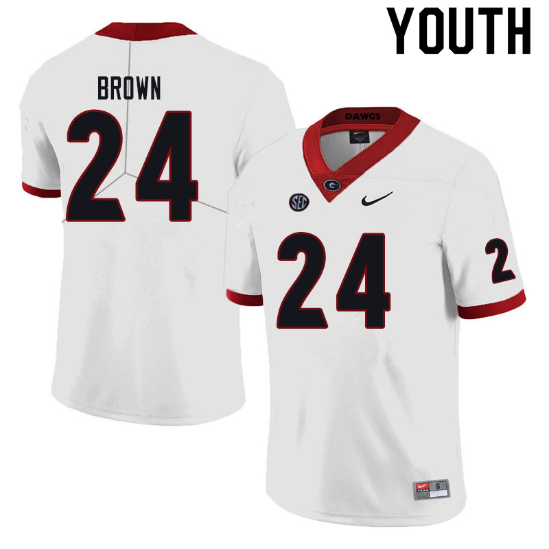 Youth #24 Matthew Brown Georgia Bulldogs College Football Jerseys Sale-Black