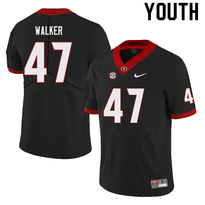 Youth #47 Payne Walker Georgia Bulldogs College Football Jerseys Sale-Black