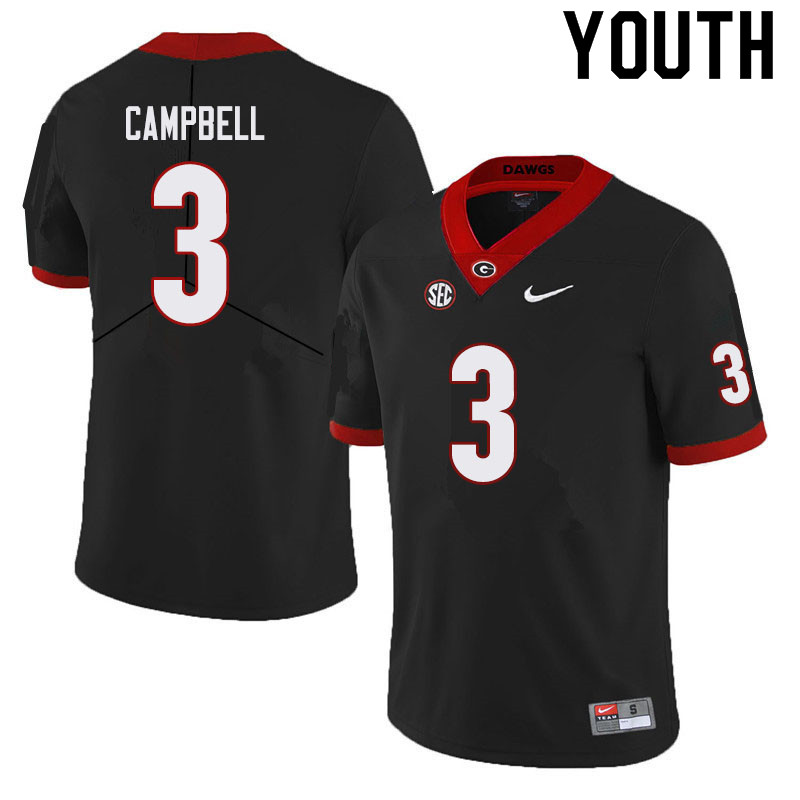 Youth #3 Tyson Campbell Georgia Bulldogs College Football Jerseys Sale-Black