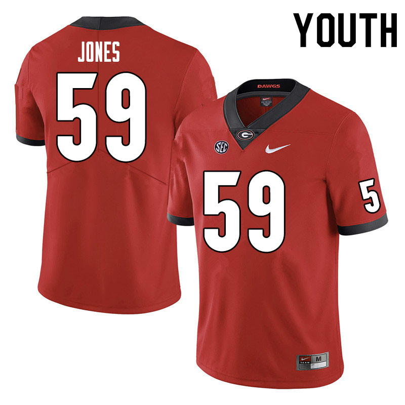 Youth #59 Broderick Jones Georgia Bulldogs College Football Jerseys Sale-Red