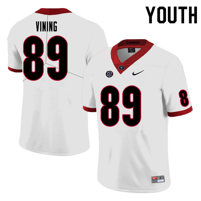 Youth #89 George Vining Georgia Bulldogs College Football Jerseys Sale-White