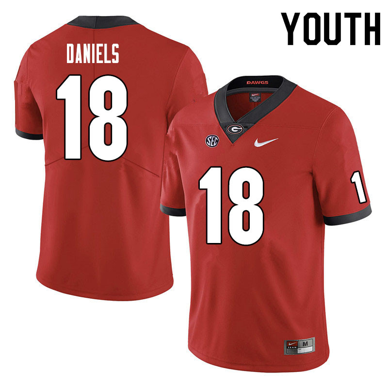 Youth #18 JT Daniels Georgia Bulldogs College Football Jerseys Sale-Red