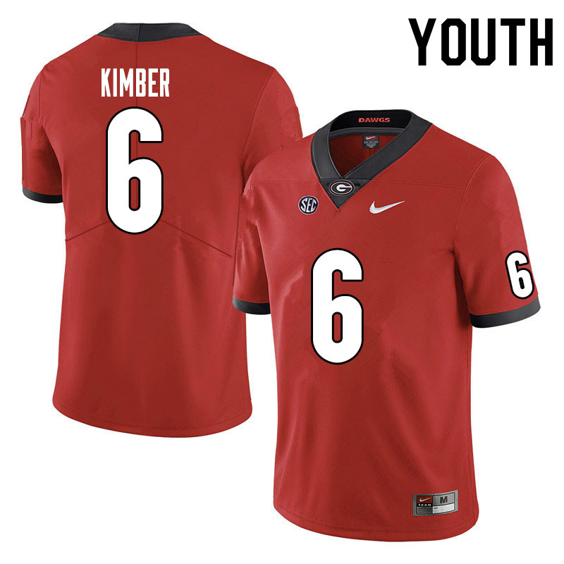 Youth #6 Jalen Kimber Georgia Bulldogs College Football Jerseys Sale-Red