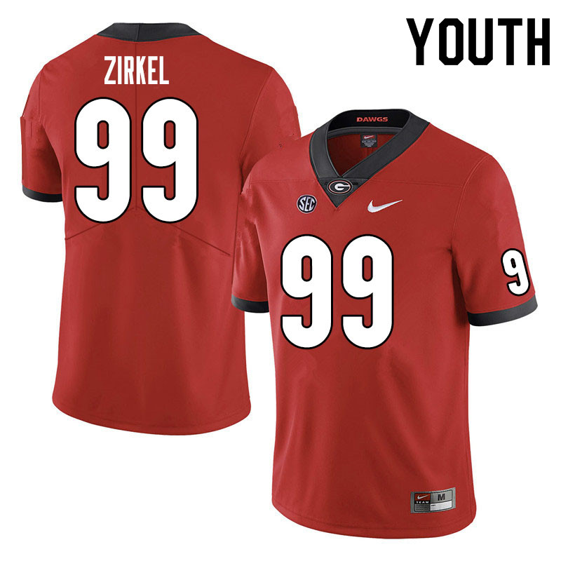 Youth #99 Jared Zirkel Georgia Bulldogs College Football Jerseys Sale-Red