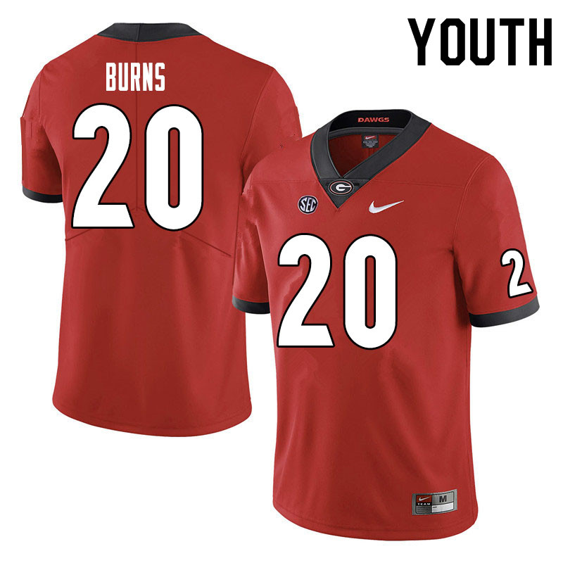 Youth #20 Major Burns Georgia Bulldogs College Football Jerseys Sale-Red