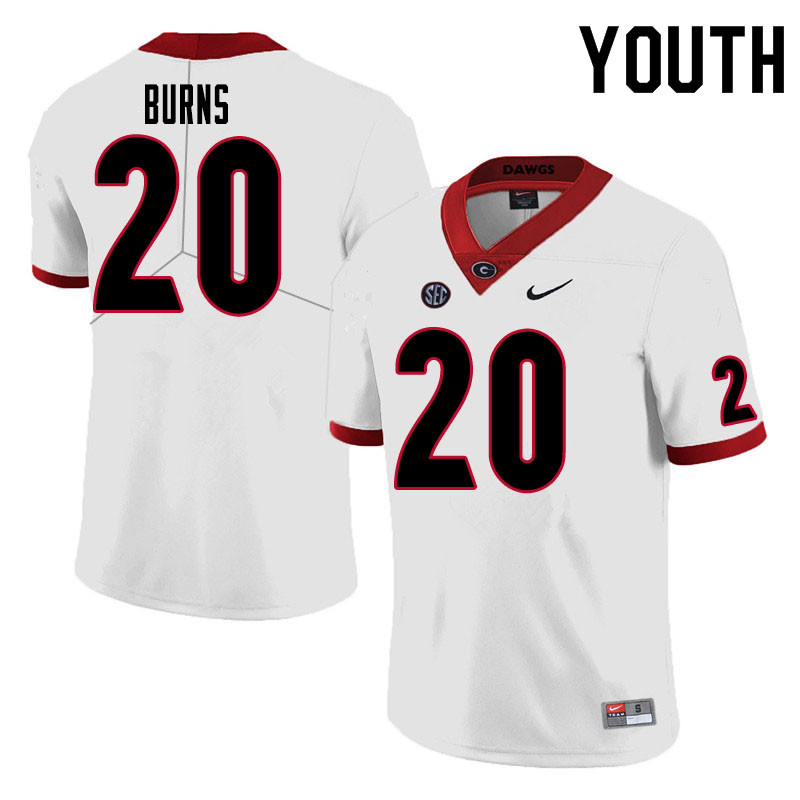 Youth #20 Major Burns Georgia Bulldogs College Football Jerseys Sale-White
