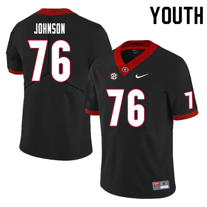 Youth #76 Miles Johnson Georgia Bulldogs College Football Jerseys Sale-Black