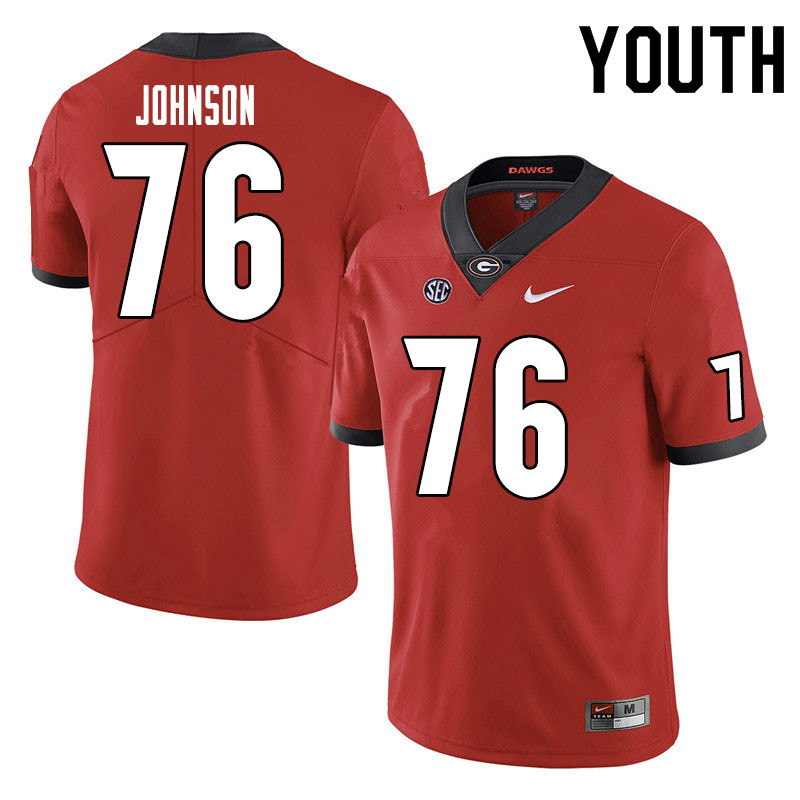 Youth #76 Miles Johnson Georgia Bulldogs College Football Jerseys Sale-Red