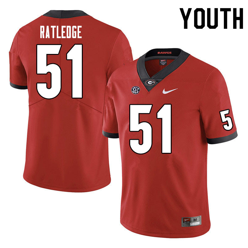 Youth #51 Tate Ratledge Georgia Bulldogs College Football Jerseys Sale-Red