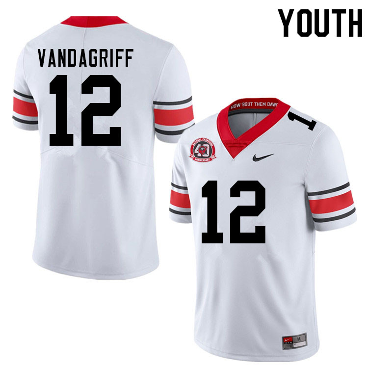 Youth #12 Brock Vandagriff Georgia Bulldogs Nationals Champions 40th Anniversary College Football Je