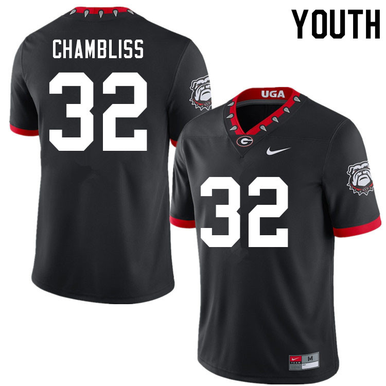 Youth #32 Chaz Chambliss Georgia Bulldogs 100th Anniversary College Football Jerseys Sale-100th Blac