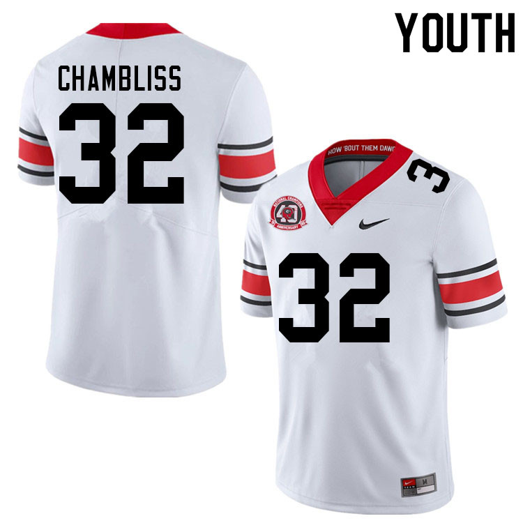 Youth #32 Chaz Chambliss Georgia Bulldogs Nationals Champions 40th Anniversary College Football Jers