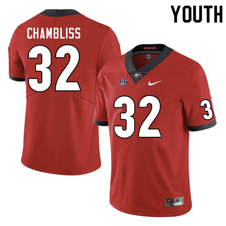 Youth #32 Chaz Chambliss Georgia Bulldogs College Football Jerseys Sale-Red