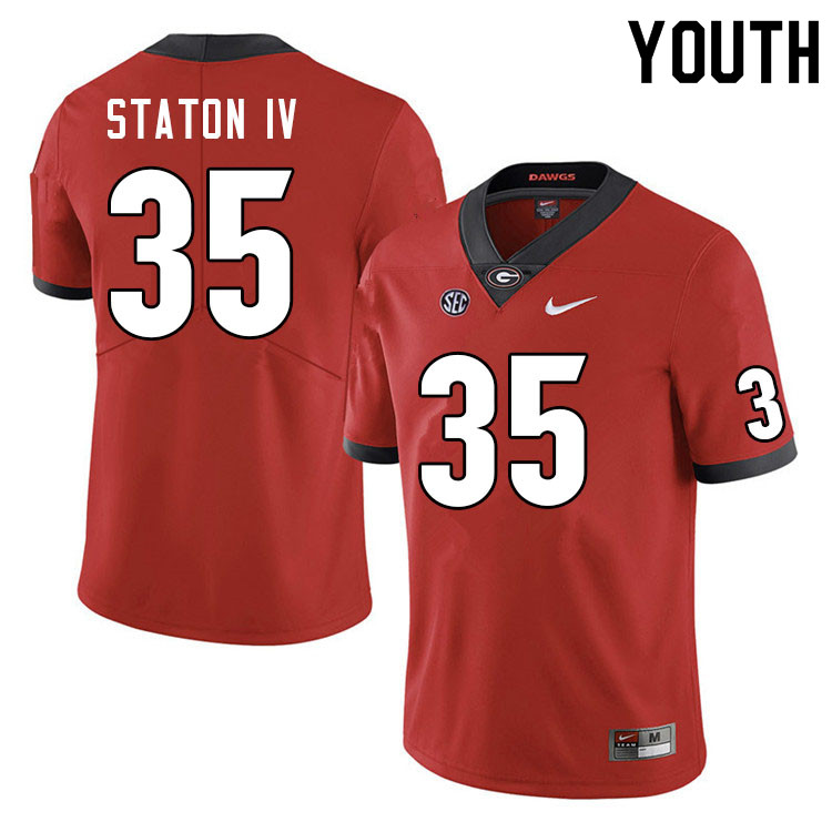 Youth #35 John Staton IV Georgia Bulldogs College Football Jerseys Sale-Red