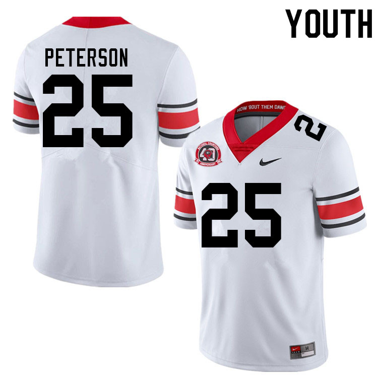 Youth #25 Steven Peterson Georgia Bulldogs Nationals Champions 40th Anniversary College Football Jer